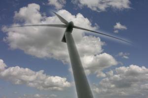 Windmolen in Oostelijk Flevoland, augustus 2008 (Foto M. Bechthold).